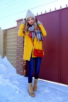 yellow OASAP coat - bronze caterpillar boots - navy Mango jeans - asos hat