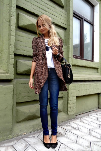 black Michael Kors bag - navy Mango jeans - black asoscom heels