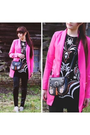 hot pink pink blazer Irisie blazer - black embroidery boho dresslily bag
