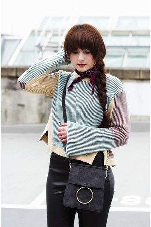 dark gray dresslily bag - teal zaful sweater