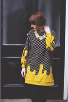 black black new look shoes - mustard violin dress