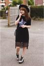 Black-rosegal-dress-teal-jeans-new-look-bag