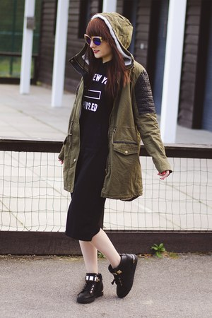 black black hoodie zaful dress - dark green V&K Boutique coat