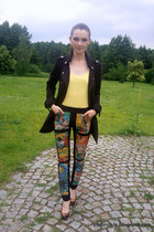 black OASAP pants - black military jacket rue21 jacket - light yellow LOGG top