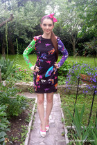black floral print versace dress - hot pink bow headband Claires accessories