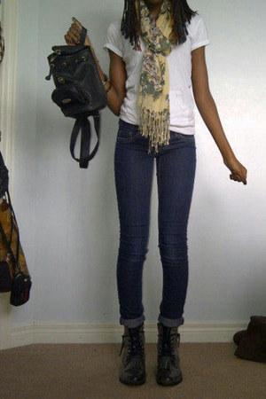 leather bag bag - combat boots Betsey Johnson boots - denim garage jeans