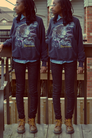 teal vintage sweater - ROOTS boots - H&M jeans - Majora shirt