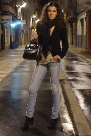 black Bershka blazer - silver Stradivarius jeans - black Bimba y Lola boots - bl