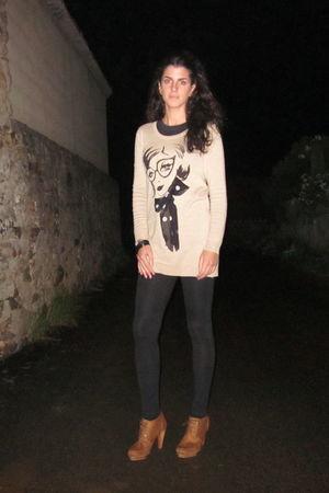 beige H&M dress - black Lefties leggings - brown asos boots