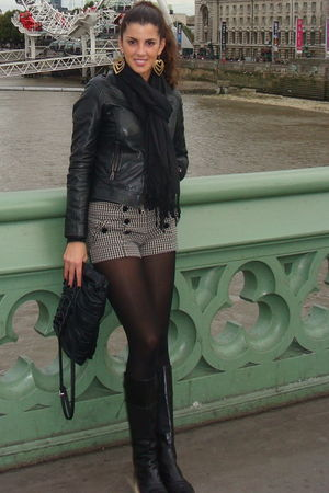 black looky boots - brown Topshop shorts - black jacket - black Zara bag