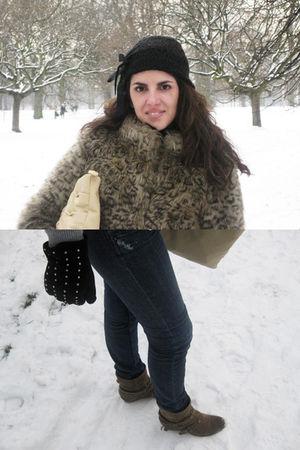 beige Topshop coat - black H&M hat - purple Pepe Jeans jeans - black BLANCO glov