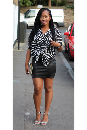 Primark shoes - zebra print H&M shirt - Topshop bag - Bershka skirt