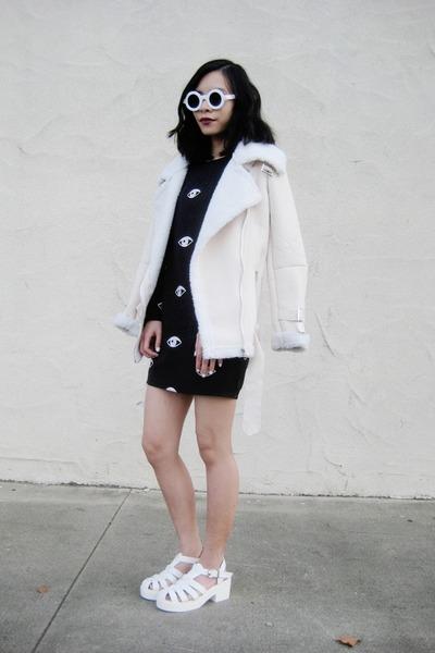 Sheinside dress - Sheinside coat - 8980 zeroUV sunglasses - Missguided sandals