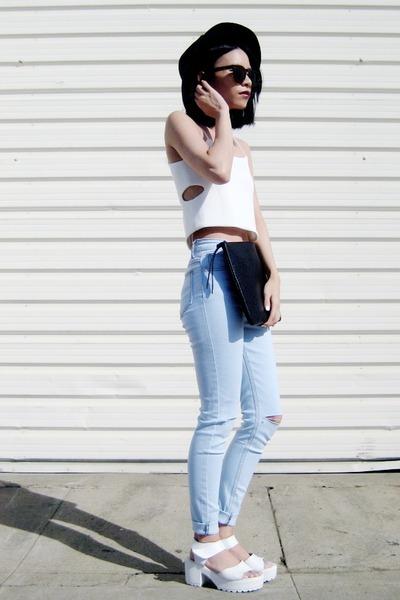 white 6ks vest - black PERSUNMALL bag - white Lovelywholesale sandals