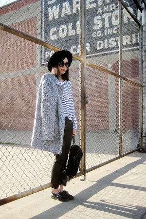 heather gray romwe coat - black mya zip moto Articles of Society jeans