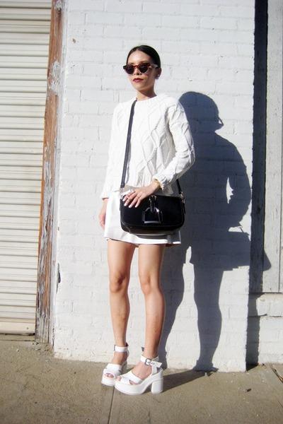 white OASAP sweater - white BangGood sweater - white BangGood bag