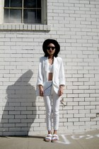 white Sheinside blazer - white arizona flat Birkenstock sandals