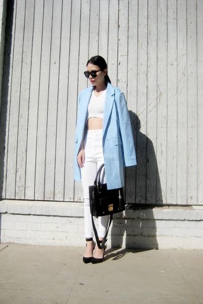 sky blue abaday blazer - black azra black Lamoda bag - white abaday pants
