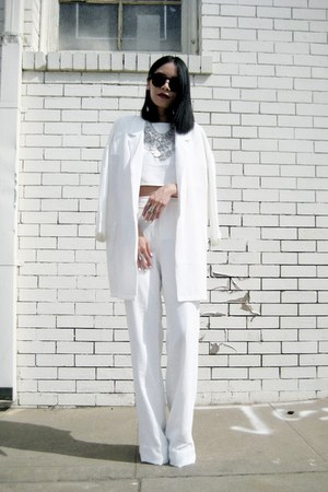 white Missguided top - cream Missguided coat - white Missguided pants