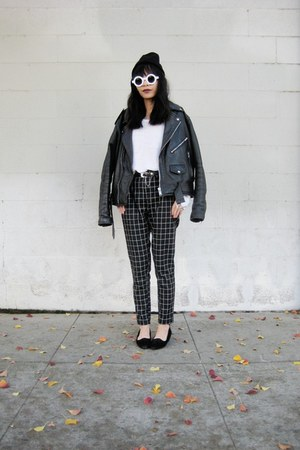 leather jacket thrifted jacket - 8980 zeroUV sunglasses - OASAP pants