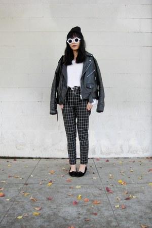 leather jacket thrifted jacket - 8980 zeroUV sunglasses - OASAP pants