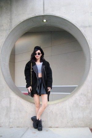 black punk style Rosewholesale boots - black OASAP coat - black OASAP hat
