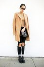 Camel-sheinside-coat-black-ripped-slim-sheinisde-jeans