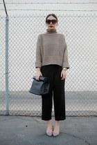 black Forever 21 bag - light brown OASAP sweater - light brown zeroUV sunglasses