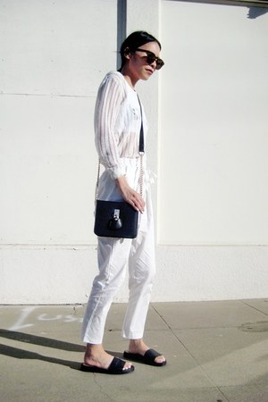 white BangGood sweater - black chain small BangGood bag - white Choies pants