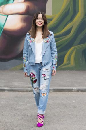 sky blue Jadu jeans - hot pink Zara shoes - sky blue zaful jacket