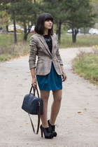 blue Stradivarius skirt - beige Zara blazer - black Zara top