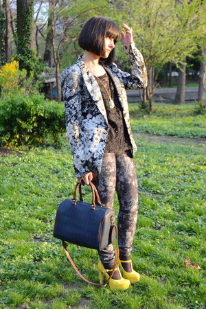yellow new look shoes - heather gray New Yorker jeans - silver Zara blazer