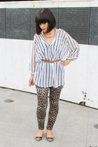 light brown new look leggings - gold Zara flats - white Bershka blouse