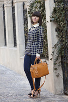 navy PERSUNMALL blouse - nude new look shoes - Mango jeans