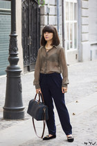 olive green Zara blouse - navy Mango pants - black H&M loafers