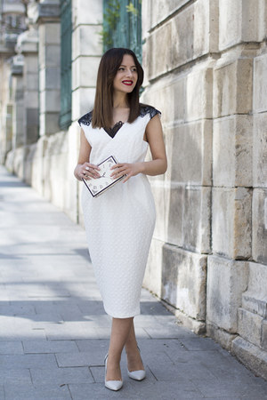 white Zara shoes - white Womanfashion dress - white sammydress bag