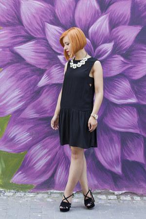 black Mango dress - black Zara sandals - white Happiness Boutique necklace