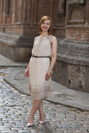 nude Zara shoes - nude comma dress - gold asos watch - dark brown asos belt