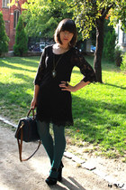 gold New Yorker necklace - black H&M dress - teal Parfois bag