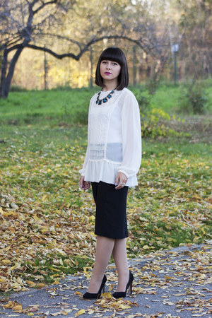 white Zara blouse - black Zara skirt - blue Zara necklace