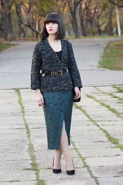 teal asos skirt - gray H&M cardigan - black Stradivarius heels