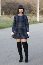 black new look boots - navy PERSUNMALL dress