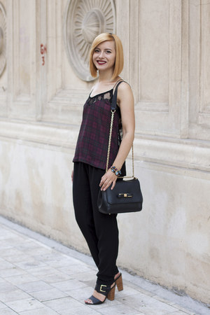 crimson Zara top - black Zara pants