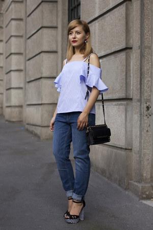 sky blue H&M jeans - light blue Rosegal blouse - black AmiClubWear sandals
