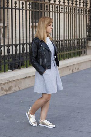 periwinkle dresslily dress - black Zara jacket - gold Missguided sneakers
