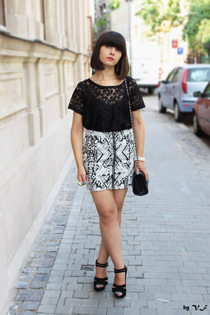 black H&M blouse - black new look bag - black new look sandals - white H&M skirt