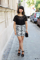 black H&M blouse - black new look bag - black new look sandals - white H&M skirt