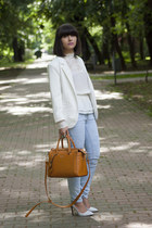 white Zara shoes - white PERSUNMALL blazer - white H&M blouse