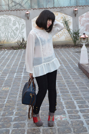 black Zara pants - teal Parfois bag - ivory Zara blouse