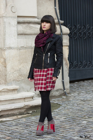 red pull&bear dress - black Zara jacket
